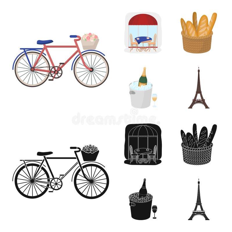 Fiets, vervoer, voertuig, koffie Vastgestelde de inzamelingspictogrammen van het land van Frankrijk in beeldverhaal, de zwarte vo vector illustratie
