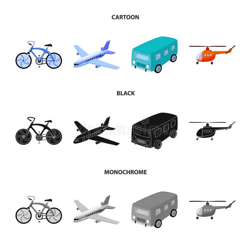 Fiets, vliegtuig, bus, helikoptertypes van vervoer Pictogrammen van de vervoer de vastgestelde inzameling in beeldverhaal, zwarte vector illustratie