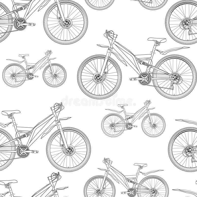 Fietscontour die naadloos patroon, zwart-wit, zwart-witte illustratie, schets, kleuring, vectorachtergrond trekken Overzicht D vector illustratie