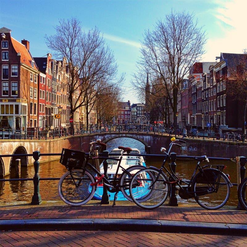 Fietsen in Amsterdam stock afbeeldingen