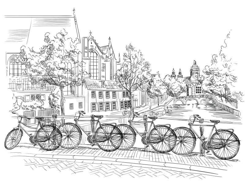 Fietsen op brug over de kanalen van Amsterdam, Nederland royalty-vrije illustratie