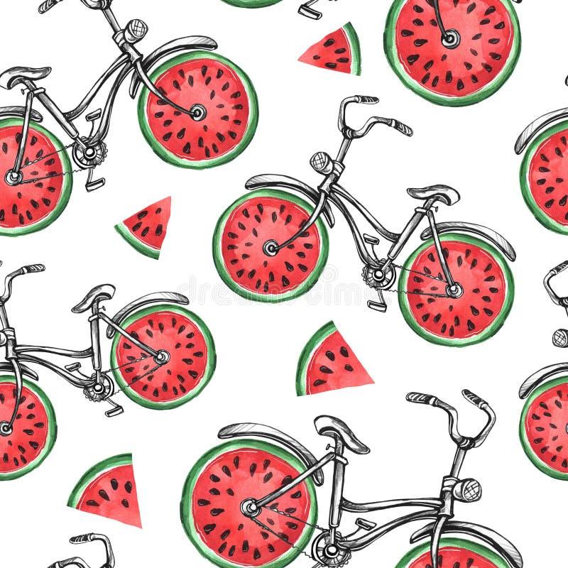 Fietsen van het waterverf de naadloze patroon met watermeloenwielen Kleurrijke de zomerachtergrond vector illustratie