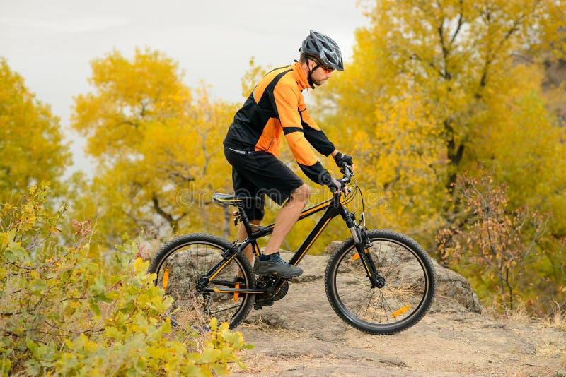 Fietser Berijdende Fiets op Mooi Autumn Mountain Trail stock foto's