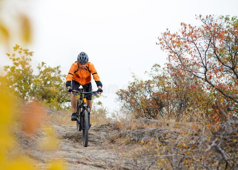 Fietser Berijdende Fiets op Mooi Autumn Mountain Trail royalty-vrije stock afbeeldingen