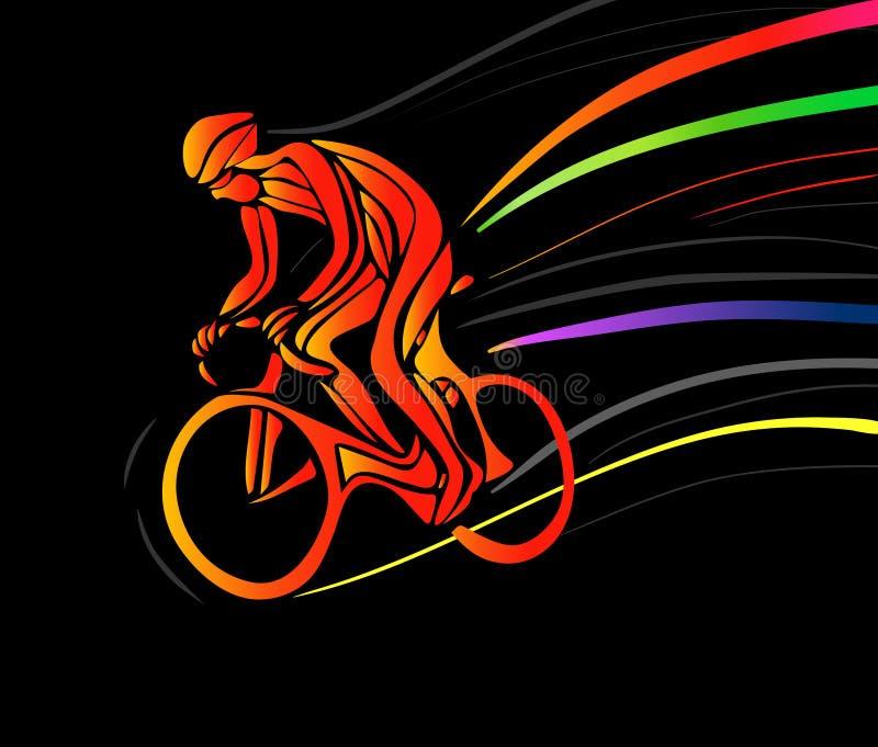 Fietser in een fietsras Vector illustratie stock illustratie