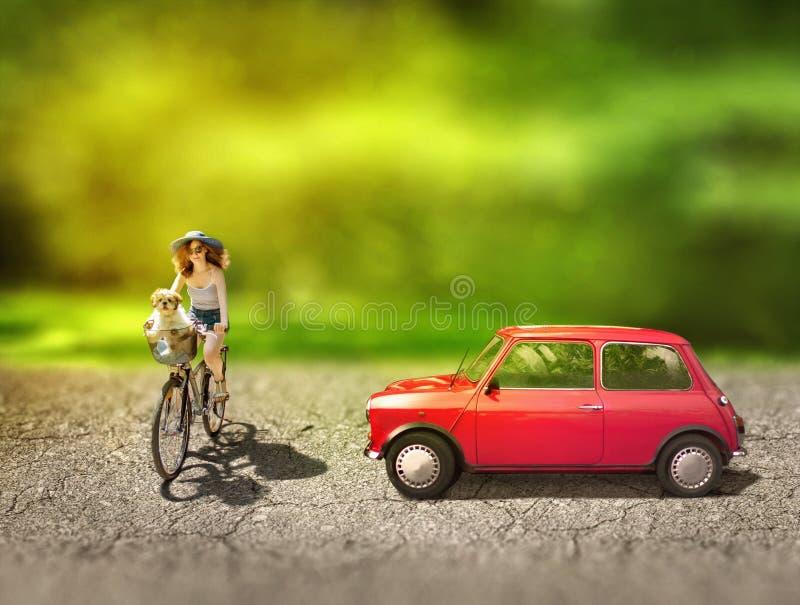 Fietser en een auto Surreal conceptuele digitale grafisch met zacht royalty-vrije stock fotografie
