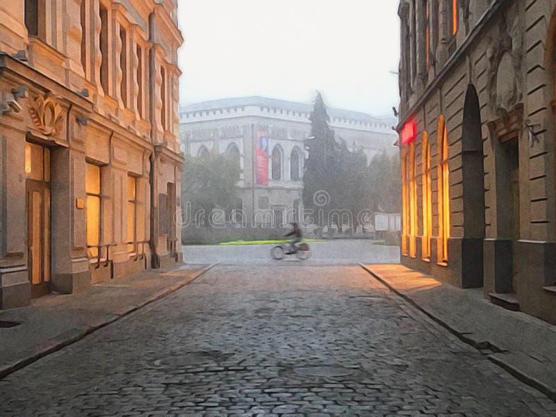 Fietser in Europese stad, Riga Letland royalty-vrije stock afbeelding