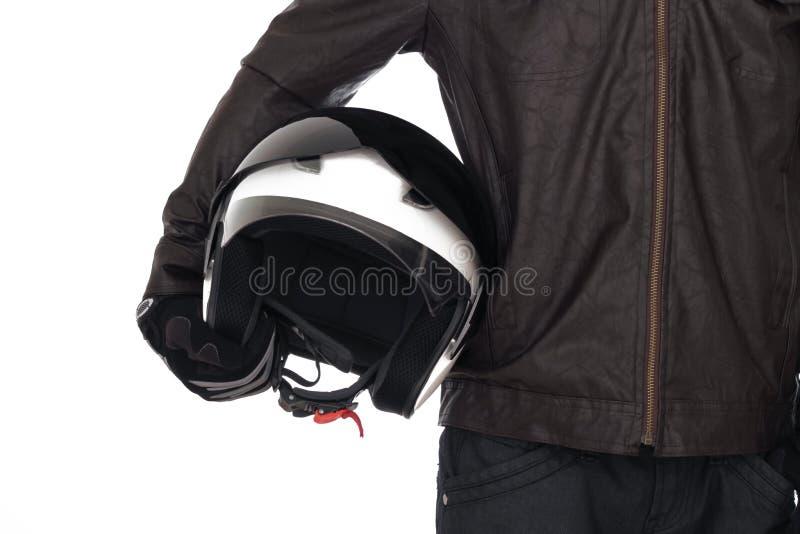 Fietser met helm stock foto