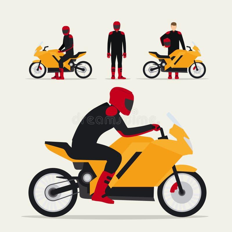 Fietser met motorfiets royalty-vrije illustratie