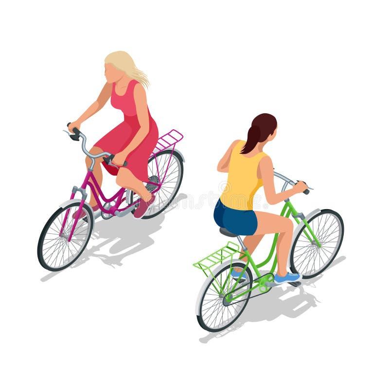 Fietsers op fietsen Mensen die fietsen berijden Fietsers en het bicycling Sport en Oefening Vlakke 3d Vector isometrische illustr royalty-vrije illustratie