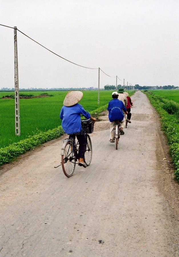 Fietsers in Vietnam royalty-vrije stock afbeeldingen