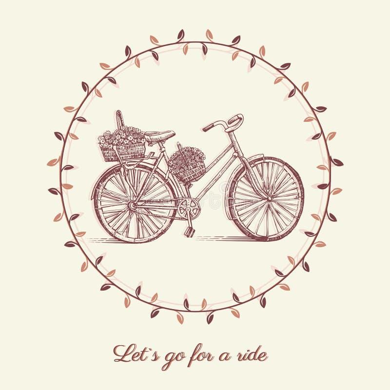 Fietshand getrokken vectorschets, de oude fiets van de inktillustratie met bloemenmand op witte achtergrond, rond kader royalty-vrije illustratie