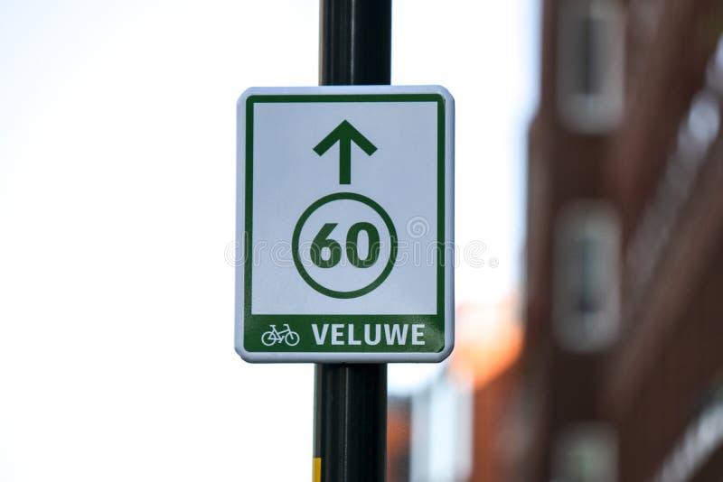 Fietsroute 60 in Apeldoorn Nederland 2018 royalty-vrije stock fotografie