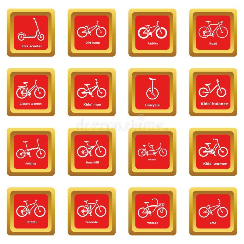 Download Fietstypes Pictogrammen Geplaatst Rode Vierkante Vector Vector Illustratie - Illustratie bestaande uit folding, berg: 114226483