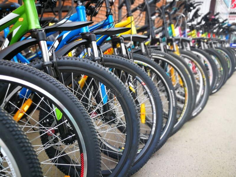 Fietswinkel, rijen van nieuwe fietsen royalty-vrije stock foto's