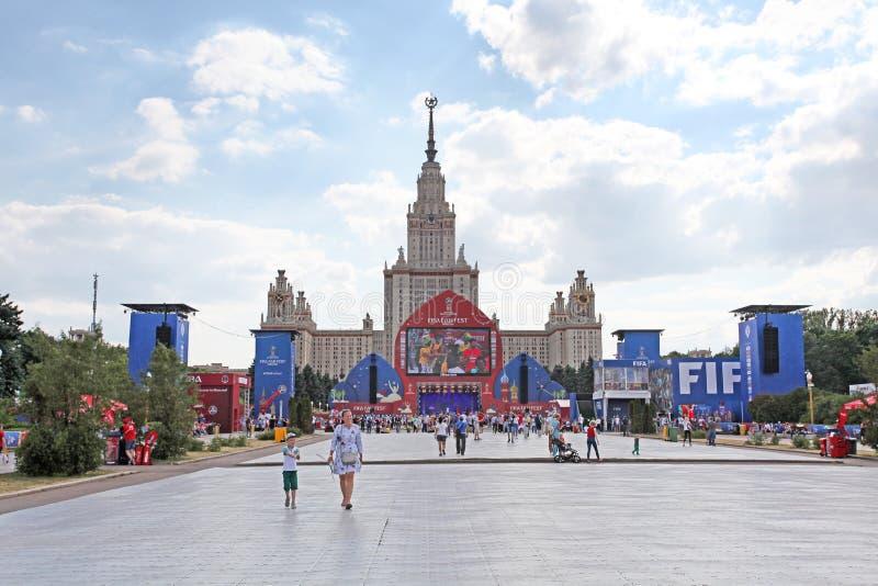 FIFA 2018 Fan Fest on Sparrow Hills, Moscow stock photos