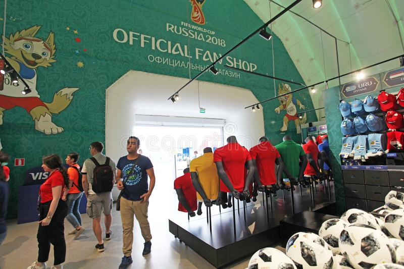 Official FIFA 2018 Fan Shop on Sparrow Hills, Moscow stock photos
