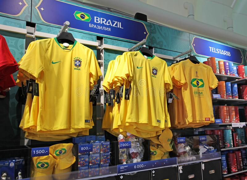 Official FIFA 2018 Fan Shop on Sparrow Hills, Moscow royalty free stock image