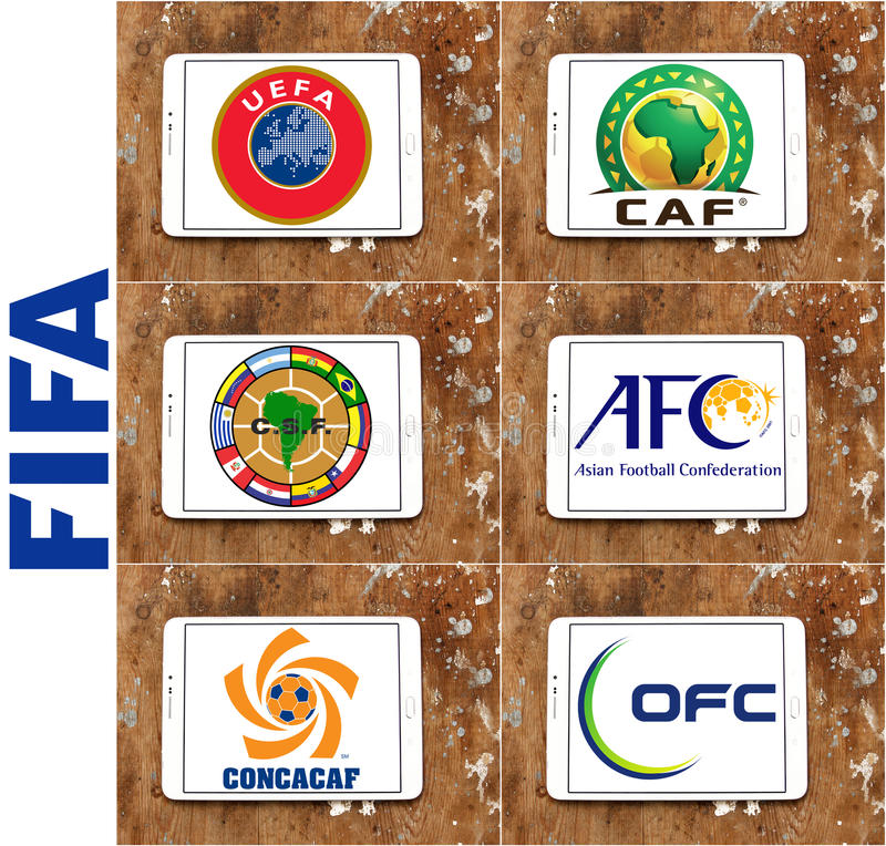 Fifa football (soccer) confederations emblems and logos. Collection of emblems and vector of fifa confederations and associations on white tablet on