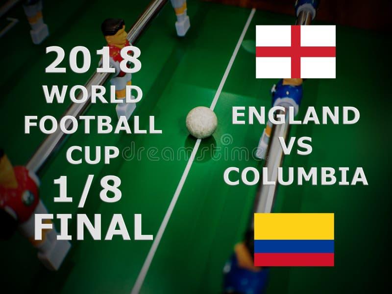 Fifa puchar świata Rosja 2018, futbolowy dopasowanie mistrzostwo finał Jeden Eighth filiżanka Zapałczany Anglia VS Kolumbia zdjęcia stock