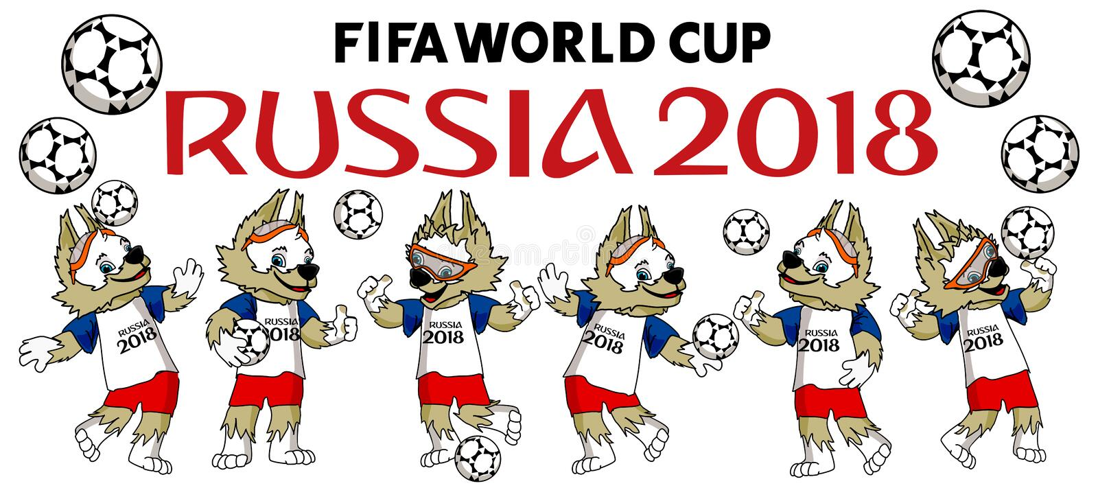 Fifa-världscupmaskot 2018 royaltyfri illustrationer