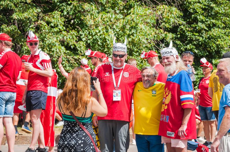 The 2018 FIFA World Cup. Danish and Brazilian fans on Manezhnaya square stock photography