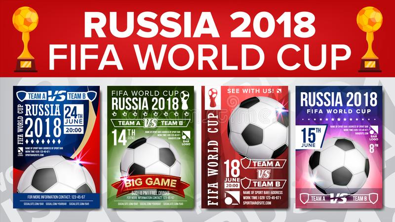 2018 FIFA World Cup Poster Set Vector. Championship Russia 2018. Design For Sport Bar Promotion. Football Ball. Modern vector illustration