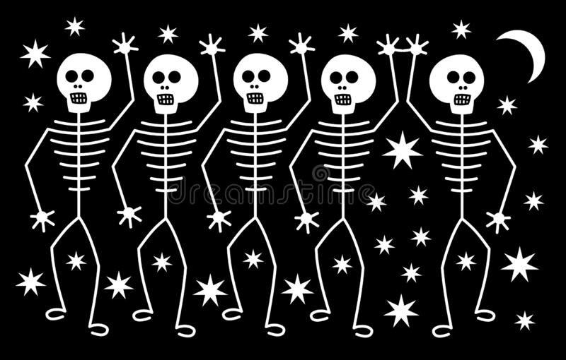Fife white human skeletons on the background of stars and the moon. Horror for Halloween. Vector art graphic stock illustration