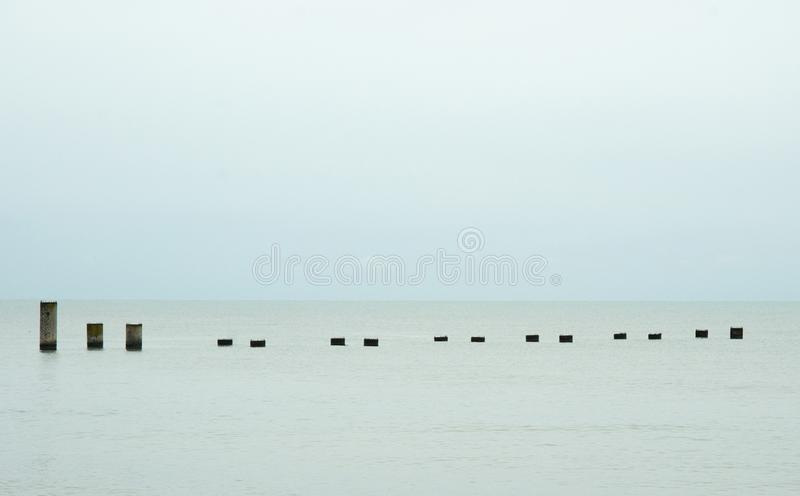 Fifteen concrete piers royalty free stock photos