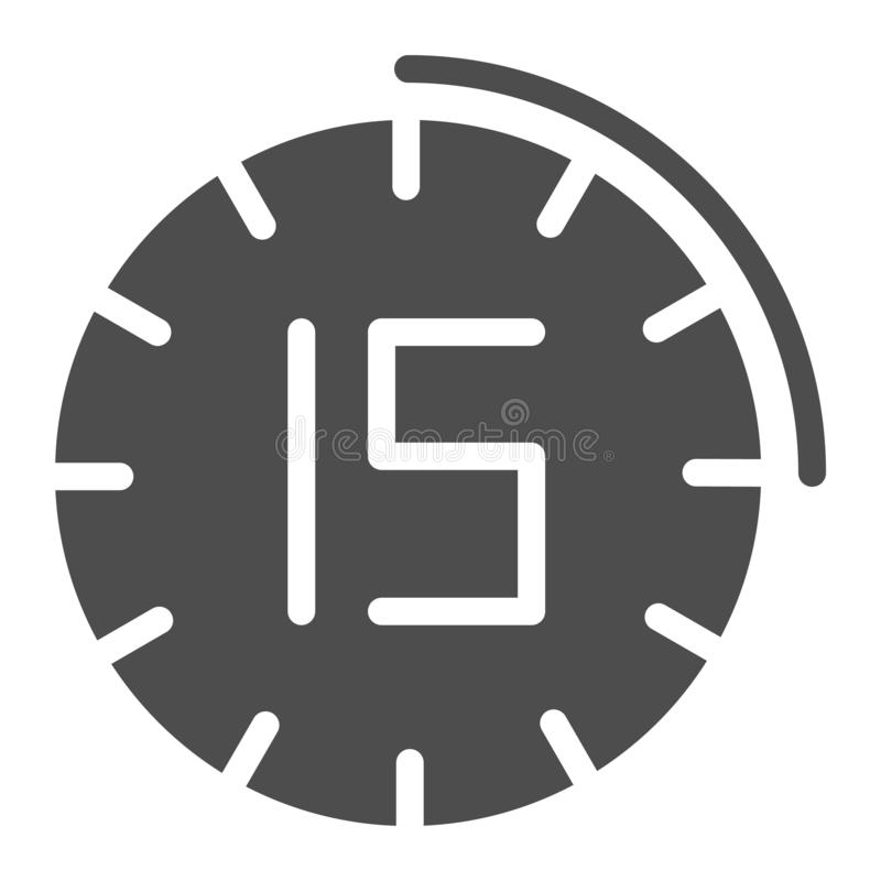 15 Minutes Clock Icon  Vector Fifteen Minute Symbol Stock