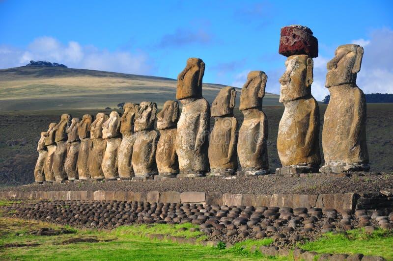 Fifteen moai at Tongariki, Easter Island stock images