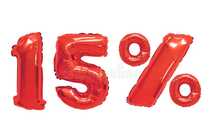 Fifteen percent from balloons red color royalty free illustration