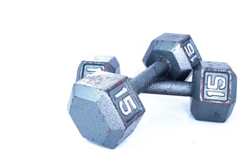 15 Fifteen Pound Weights on white stock photo