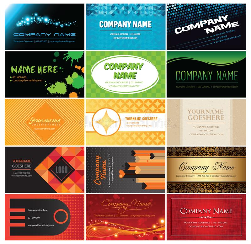 Fifteen quality vector business card designs vector illustration