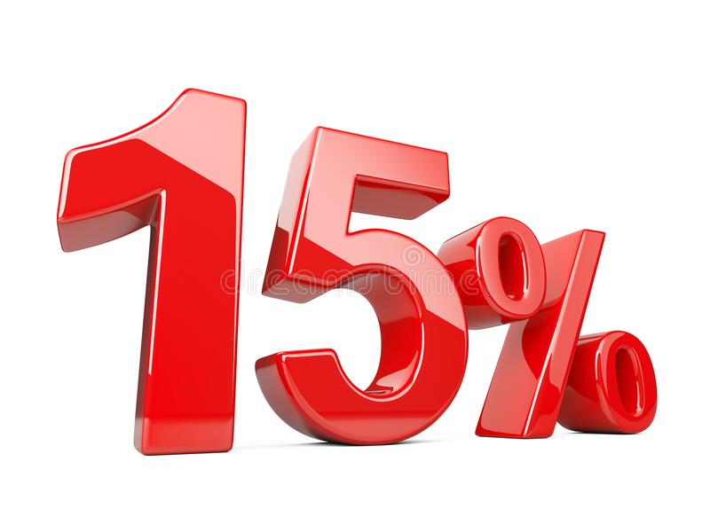 Fifteen red percent symbol. 15% percentage rate. Special offer d stock illustration