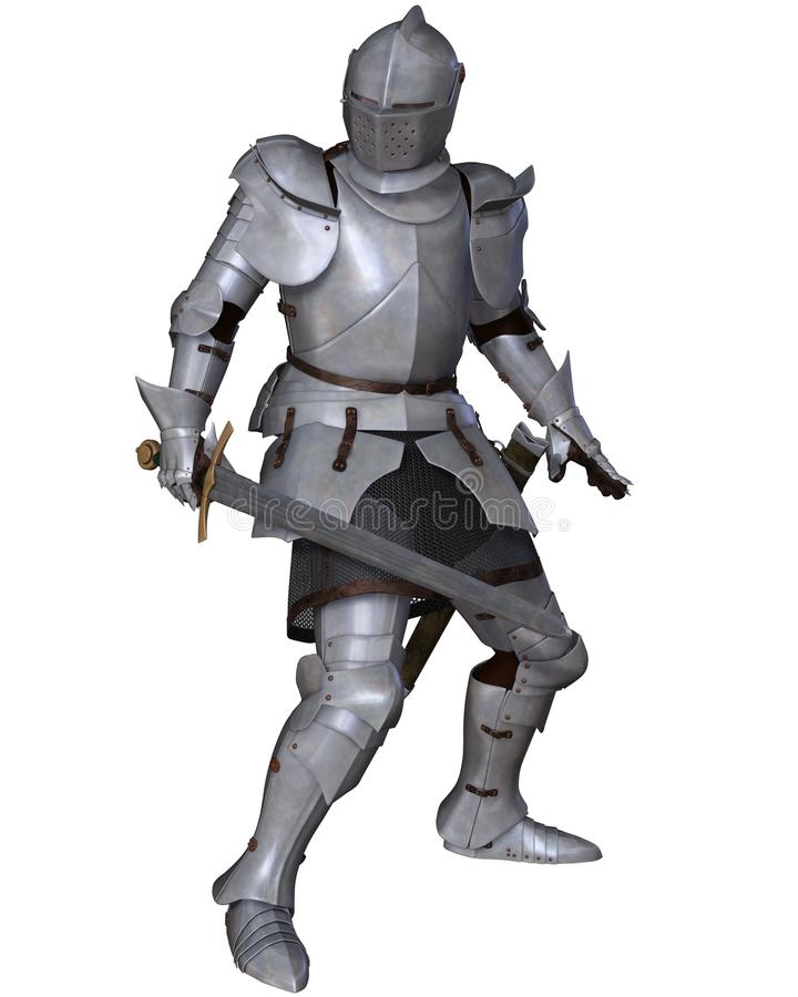 Fifteenth Century Medieval Knight in Fighting Pose stock image