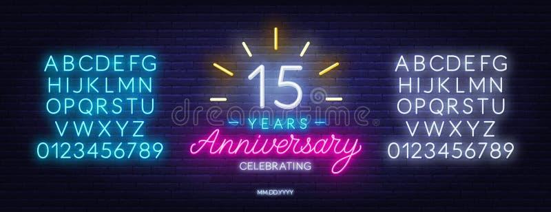Fifteenth rocznicowego świętowania neonowy znak na ciemnym tle ilustracji