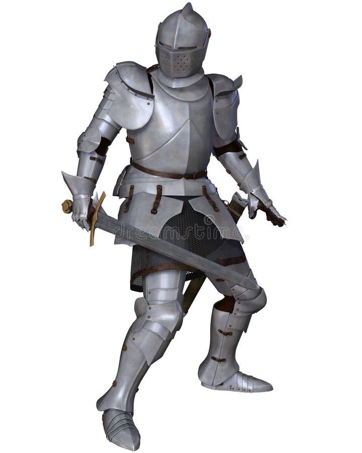 Fifteenth wieka Średniowieczny rycerz w bój pozie ilustracji