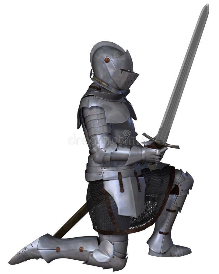 Fifteenth wieka Średniowieczny rycerz w klęczenie pozie royalty ilustracja