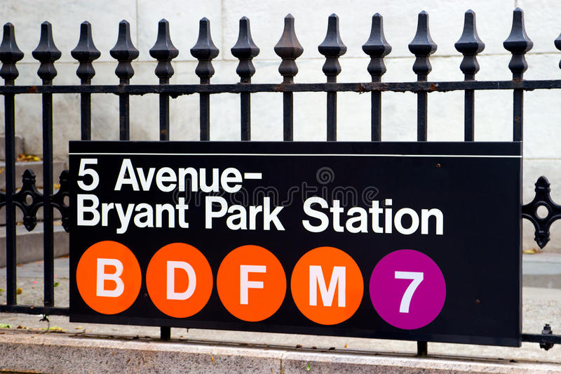Fifth Avenue and Bryant Park Station, New York. This is the subway stop for Bryant Park and Fifth Avenue located in midtown Manhattan, New York stock photos