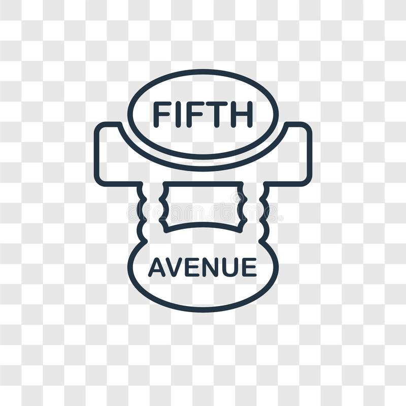 Fifth avenue concept vector linear icon isolated on transparent. Background, Fifth avenue concept transparency concept in outline style royalty free illustration