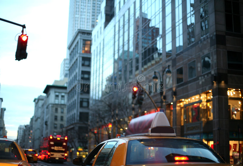Fifth Avenue at dusk, New York stock image