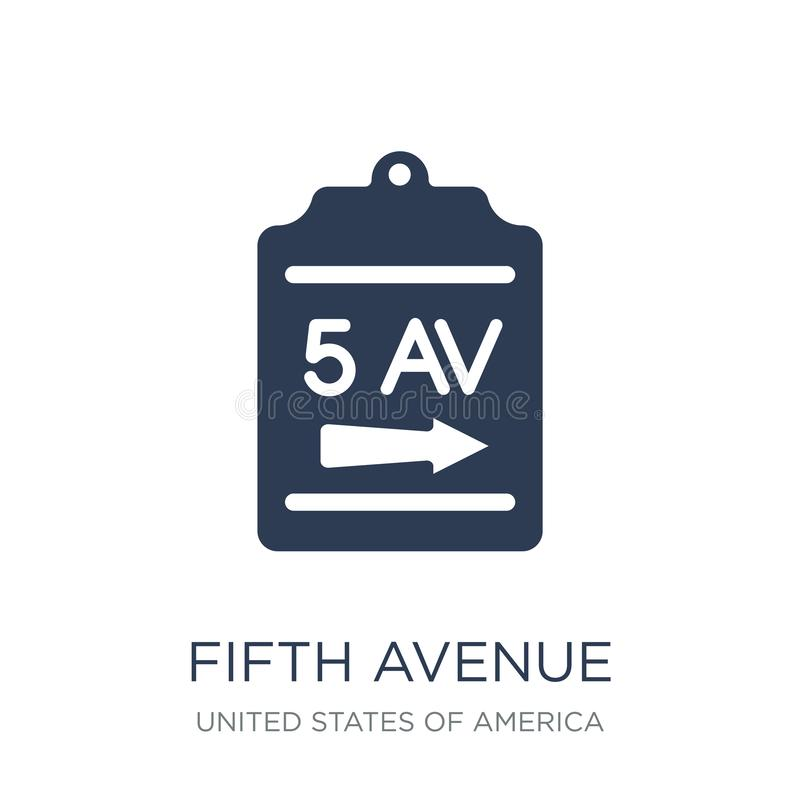 Fifth Avenue ikona Modna płaska wektorowa fifth avenue ikona na bielu ilustracja wektor