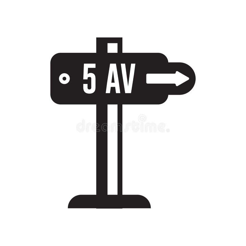 Fifth Avenue ikony wektoru znak i symbol odizolowywający na białym backg royalty ilustracja