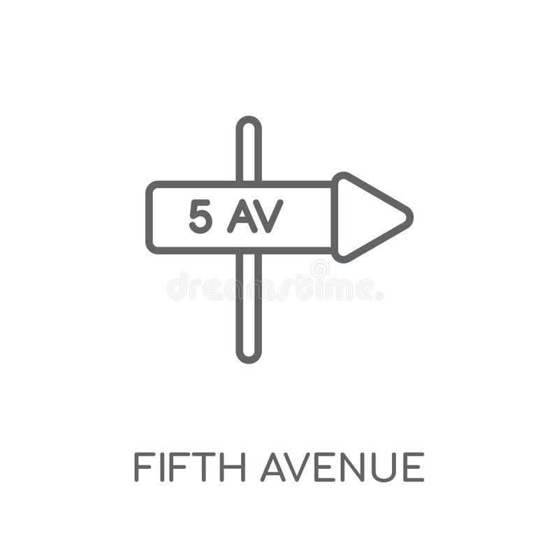 Fifth avenue linear icon. Modern outline Fifth avenue logo conce. Pt on white background from United States of America collection. Suitable for use on web apps royalty free illustration
