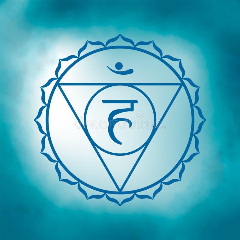 Fifth, throat chakra - Vishuddha. Illustration of one of the seven chakras. The symbol of Hinduism, Buddhism. Blue watercolor fog on background stock illustration