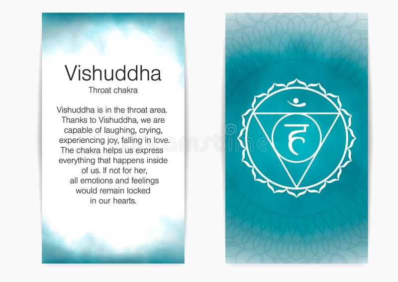 Fifth, throat chakra - Vishuddha. Illustration of one of the seven chakras. The symbol of Hinduism, Buddhism. Blue watercolor fog on background royalty free illustration