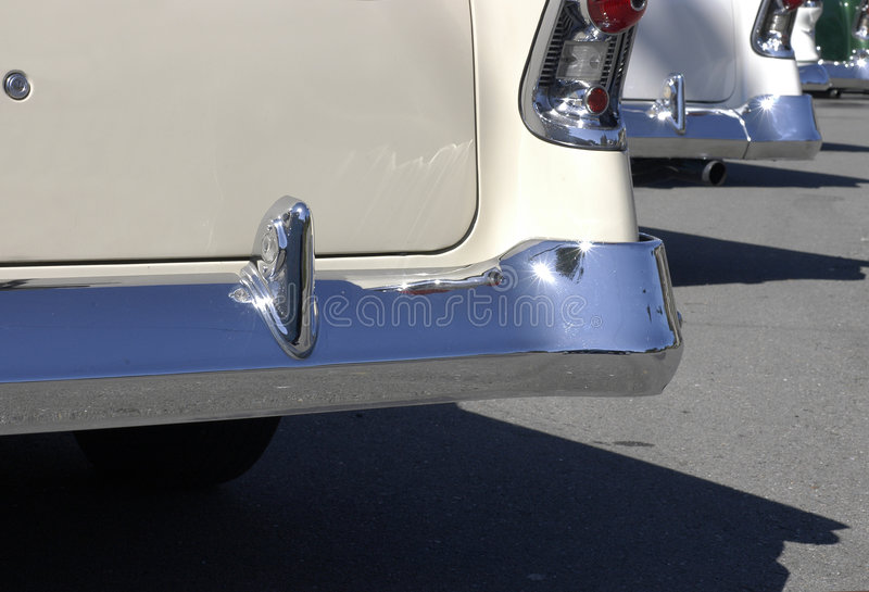 Fifties finned cars in sun royalty free stock photos