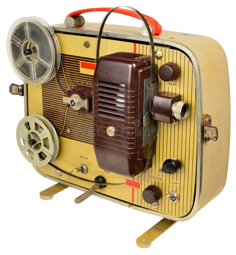 Fifties home cinema projector. 1950's 8mm movie projector, packs into its own suitcase one half been removed to attach the reels and show the (silent) film which royalty free stock photography