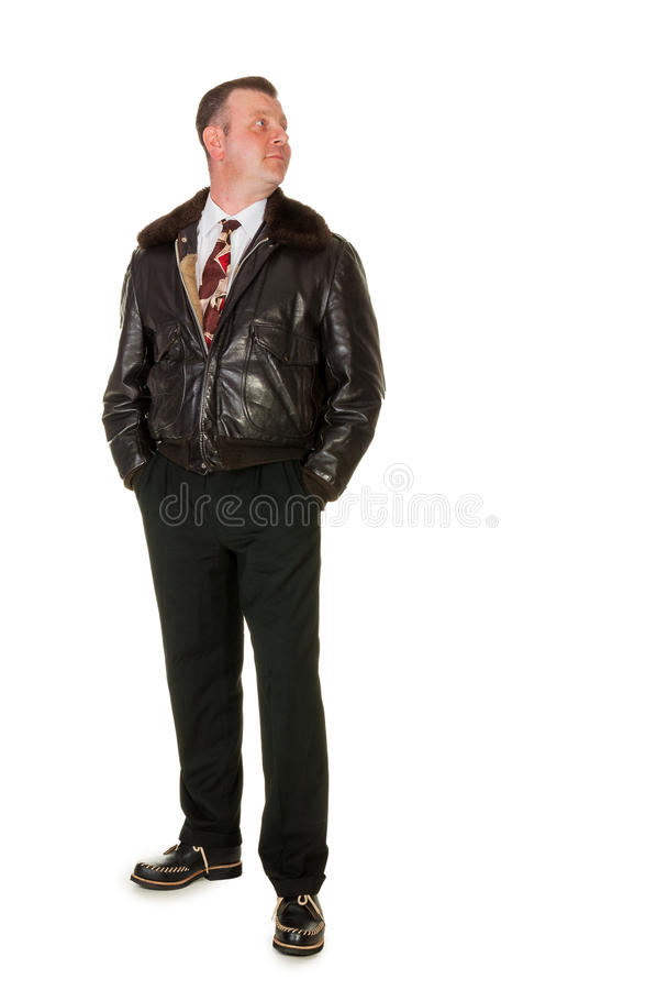 Fifties retro man in leather bomber jacket, on white stock photography